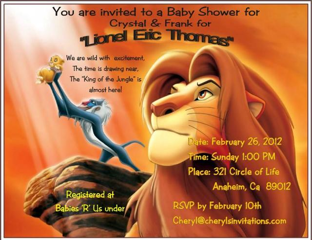 Lion King Baby Invitation Shower 3