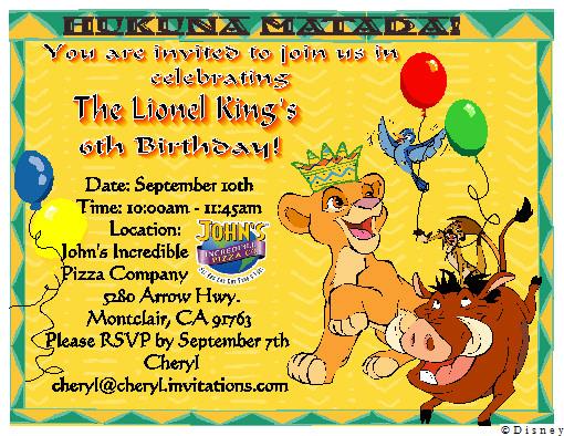 Lion King Birthday Invitation Bottle