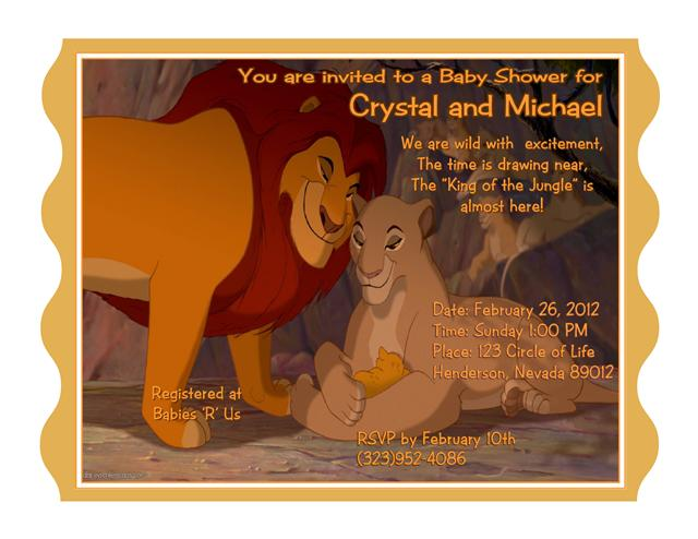 16 lion king baby shower invitation