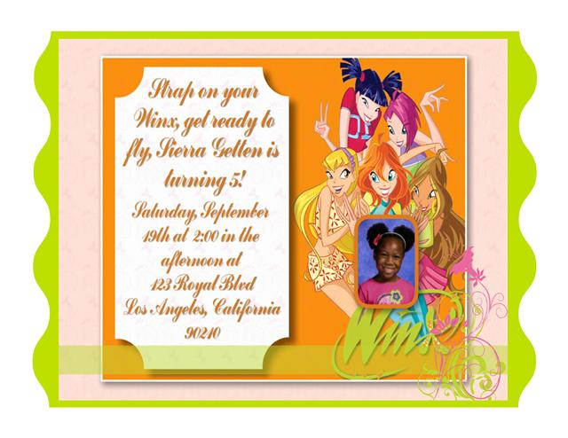 winx club birthday invitation, invitation samples