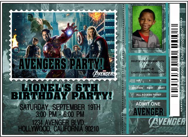 Avengers Ticket Birthday Invitation - Avengers birthday invitation wording
