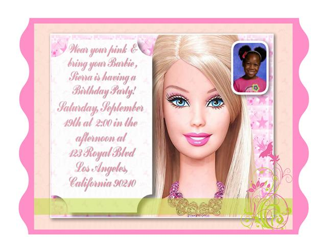 Barbie birthday invitation all invitations are available in paper only stopboris Choice Image