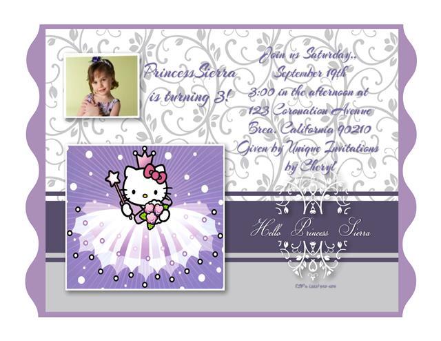 Hello Kitty Princess Birthday Invitation – Custom Hello Kitty Birthday Invitations