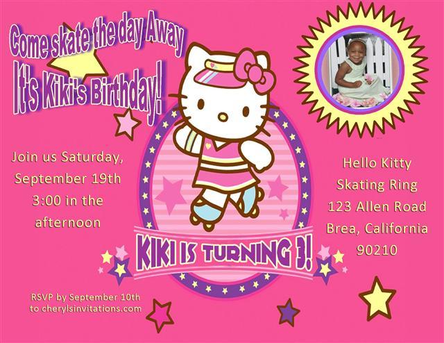hello kitty skating party invitation - Hello Kitty Party Invitations