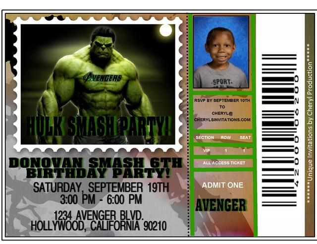 Children Party Invites – Hulk Birthday Invitations