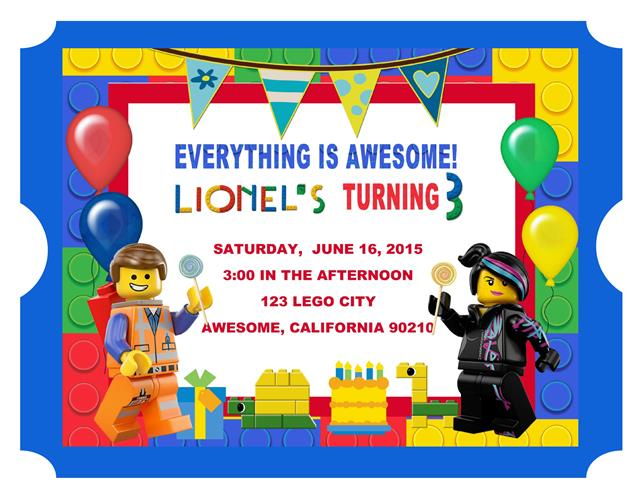 Lego Movie Birthday Invitation – Lego City Birthday Invitations