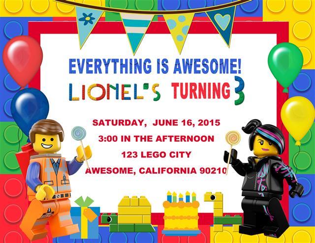 Lego Movie Birthday Invitation – Lego Birthday Card Printable
