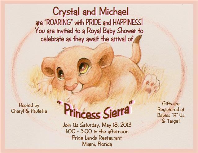 2 Lion King Princess Baby Shower Invite