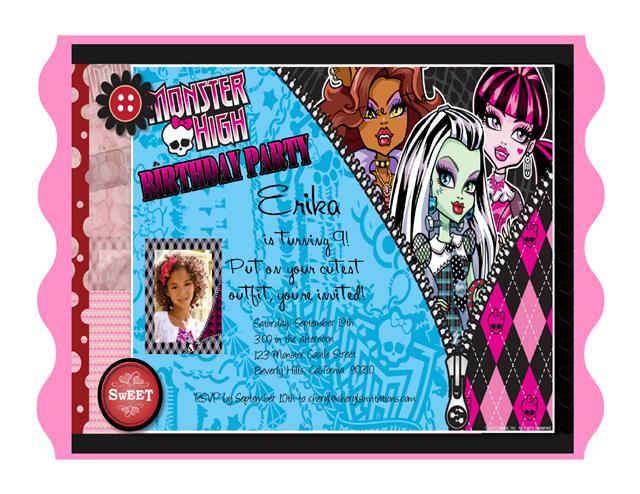 2 Monster High Birthday Invitation
