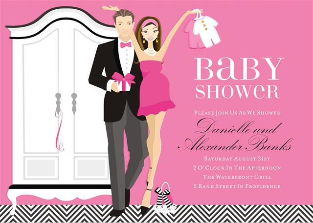 pink couples lets dress the baby shower invite
