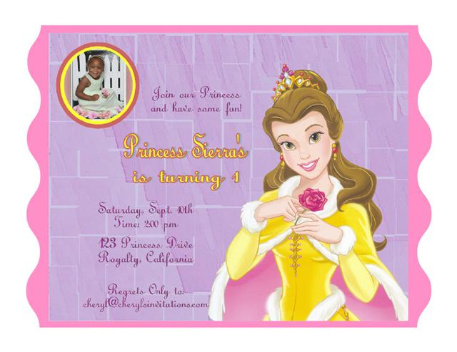 Princess Belle Birthday Invitation – Disney Princess Birthday Invitation Wording