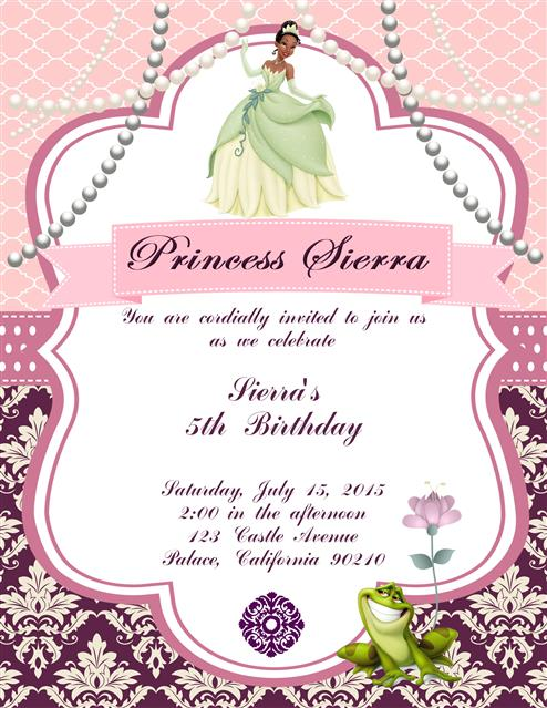 Children Party Invites – Princess Tiana Party Invitations