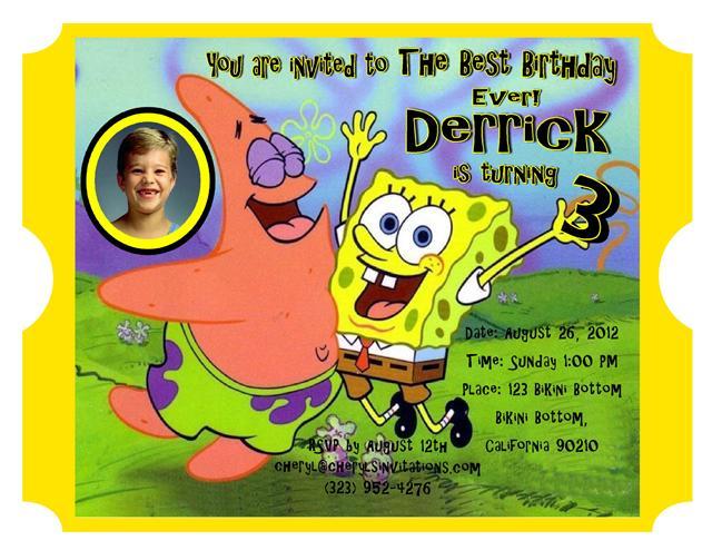 5 Spongebob Patrick Birthday Invitation – Spongebob Birthday Party Invitations