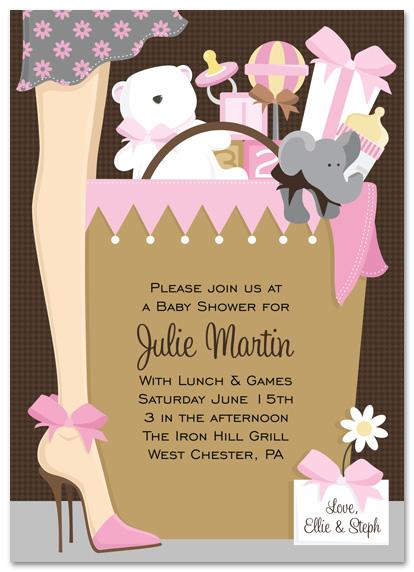 Pink Stylish Mom Baby Shower Invitation