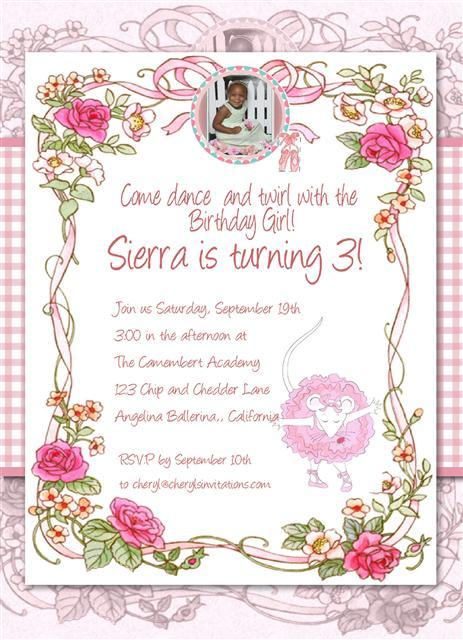 2 Angelina Ballerina Birthbay Invite – Angelina Ballerina Birthday Invitations