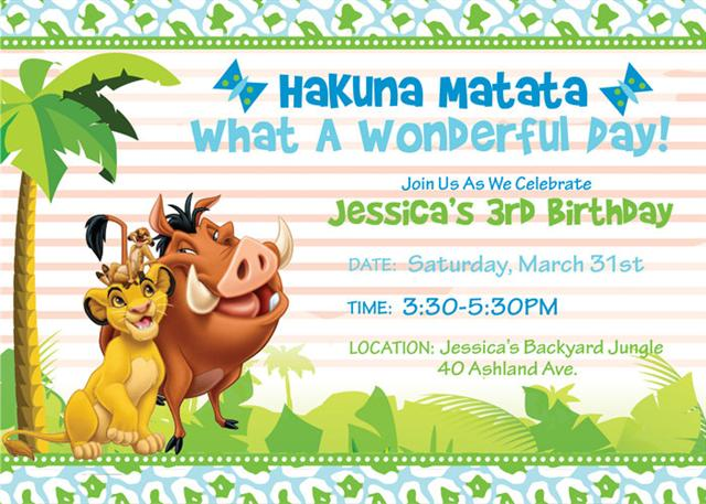 3 Lion King Birthday Invitation