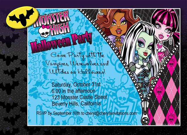 Monster High Halloween Party Invitation